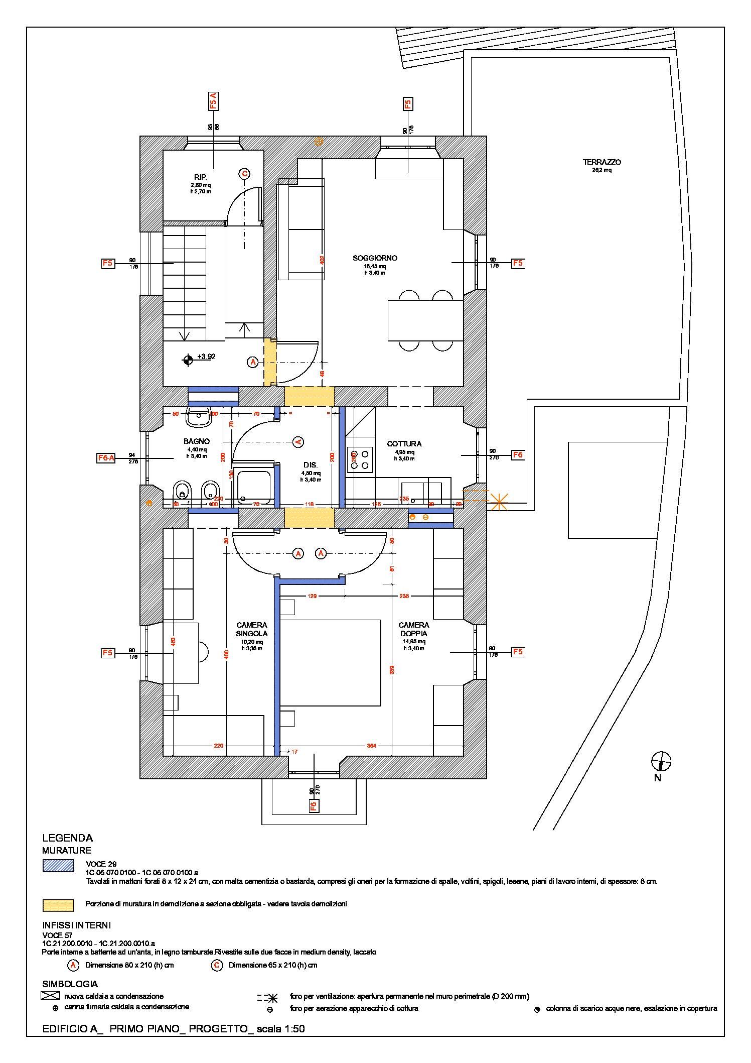 Edificio a: pianta primo piano