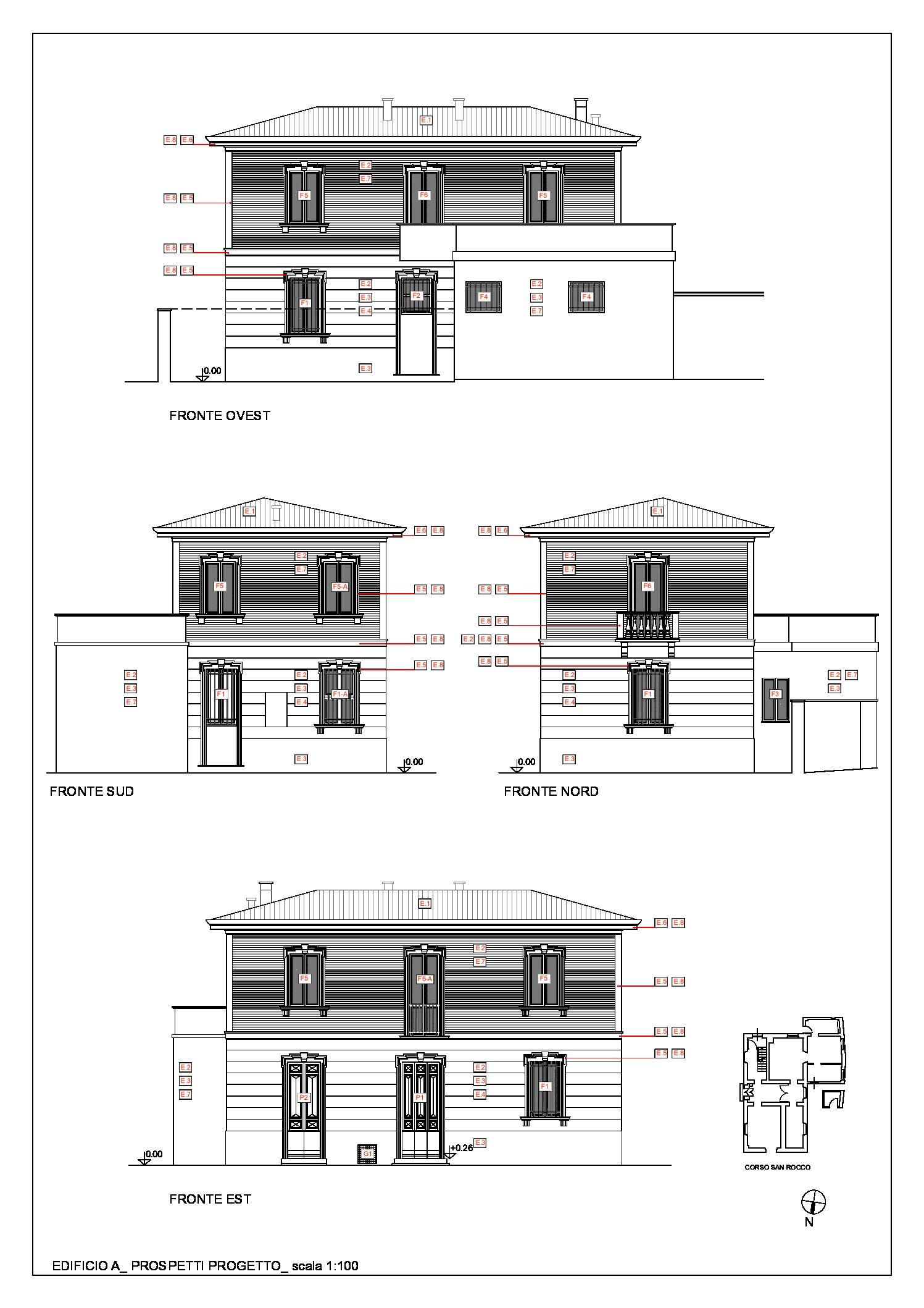 Edificio A: prospetti